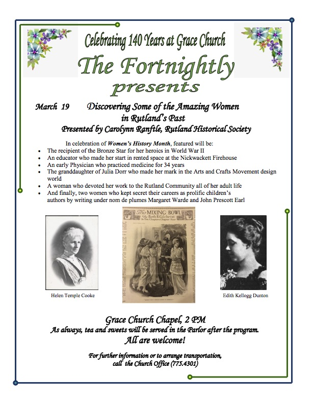 Mar. 19 ~ Discovering Some of the Amazing Women of Rutland